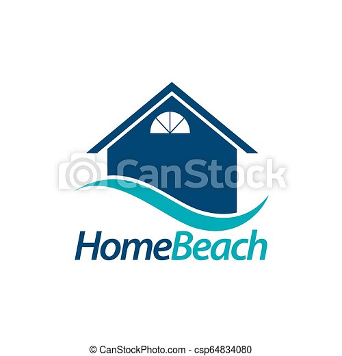 Home Beach House Icon With Blue Wave Logo Concept Design Template