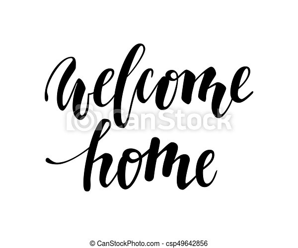 Bienvenido A Casa Caligrafía Dibujada A Mano Y Letra De