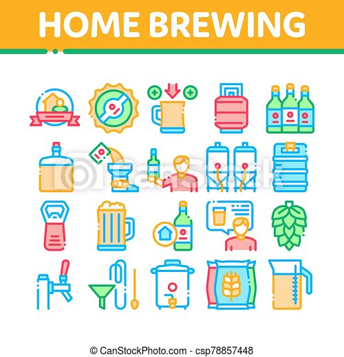 Home Brewing Beer Collection Icons Set Vector - csp78857448