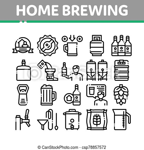 Home Brewing Beer Collection Icons Set Vector - csp78857572