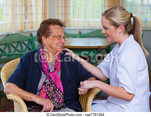 home care of old lady - csp7781354