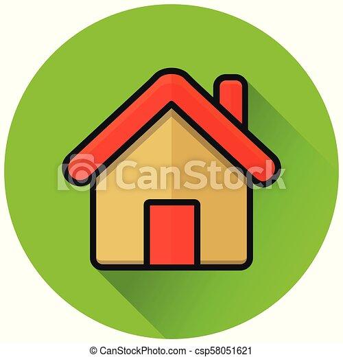 home circle green flat icon - csp58051621