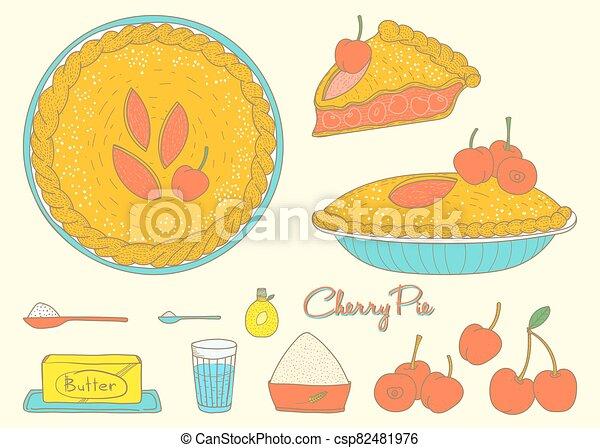 Home cooking Cherry Pie - csp82481976