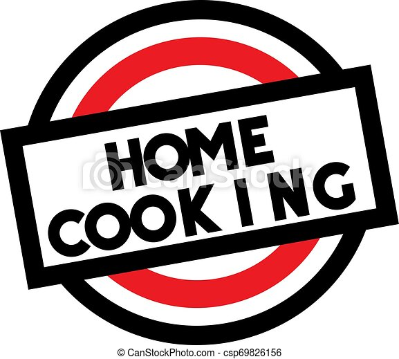 HOME COOKING stamp on white isolated - csp69826156