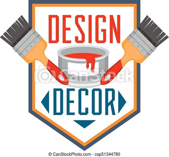 Home decor paint brush interior design vector icon. House decor ...
