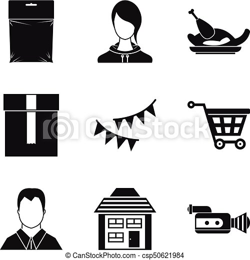 Home Decoration Icons Set, Simple Style   Csp50621984