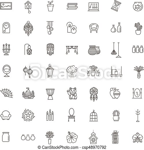 Home Decoration Vector Thin Line Icons Furniture And Decor For