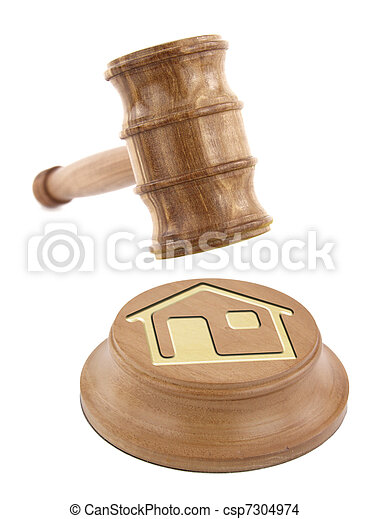 Home design on an auction gavel - csp7304974