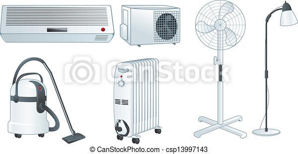 Home electric appliances set vector - csp13997143