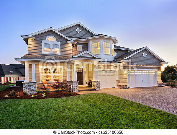 Home Exterior at Twilight - csp35180650