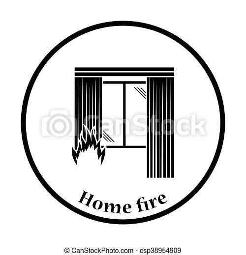 Home fire icon - csp38954909