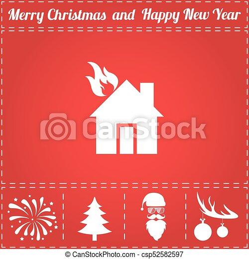 Home fire Icon Vector - csp52582597
