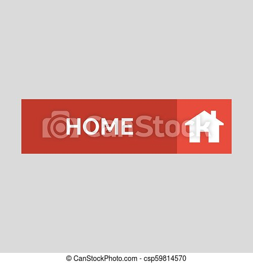 Home flat button on grey background. - csp59814570