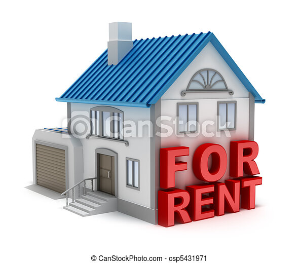 Home for rent. 3D concept isolated  - csp5431971