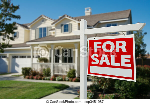 Home For Sale Real Estate Sign and House - csp3451987