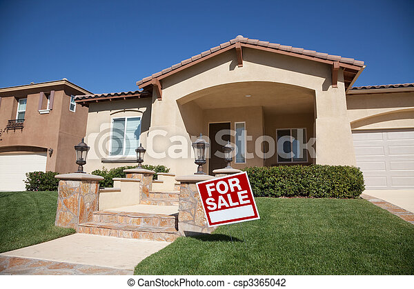Home For Sale Sign and New House - csp3365042