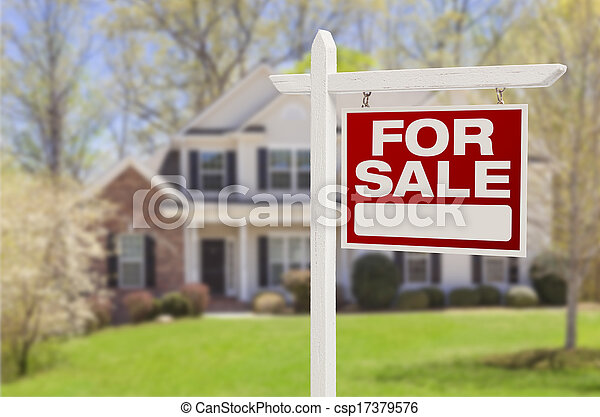 Home For Sale Sign in Front of New House - csp17379576
