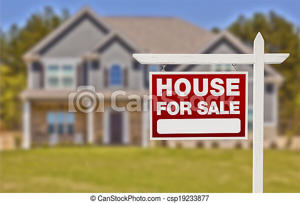 Home For Sale Sign in Front of New House - csp19233877