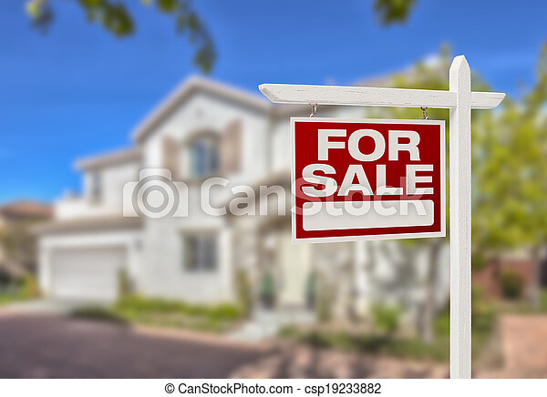 Home For Sale Sign in Front of New House - csp19233882