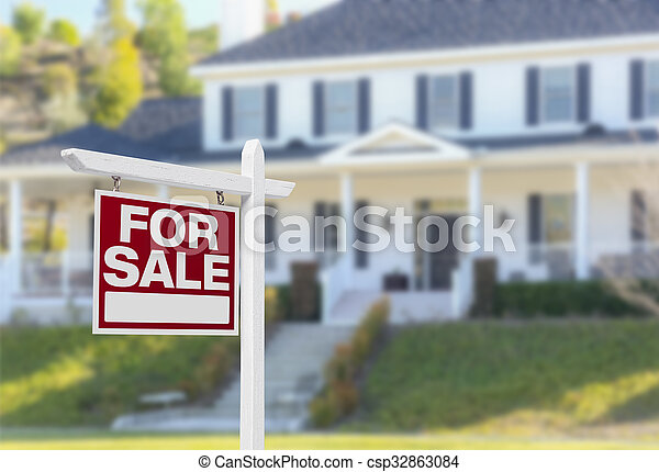 Home For Sale Sign in Front of New House - csp32863084