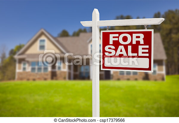 Home For Sale Sign in Front of New House - csp17379566