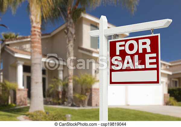 Home For Sale Sign in Front of New House - csp19819044