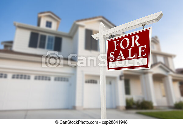 Home For Sale Sign in Front of New House - csp28841948