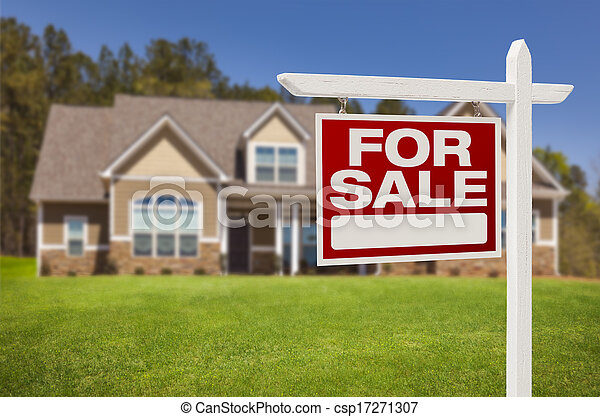 Home For Sale Sign in Front of New House - csp17271307
