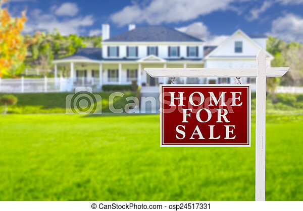 Home For Sale Sign in Front of New House - csp24517331