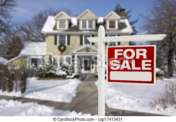 Home For Sale Sign in Front of Snowy New House - csp17413431