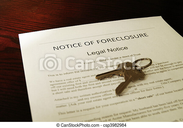 home foreclosure document and house keys - csp3982984