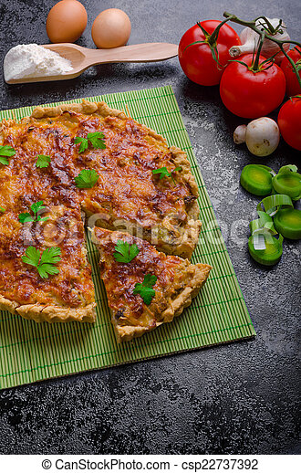 Home French quiche stuffed with mushrooms, tomato and leek - csp22737392