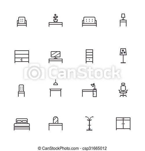 Home Furniture Icons Set. Line icon - csp31665012