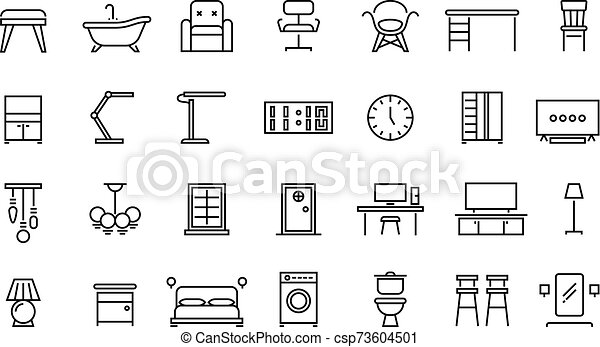 Home Furniture Line Icons Office Interior And Home Room Chair Lamp Table Symbols Bedroom Kitchen An Living Room Vector Set