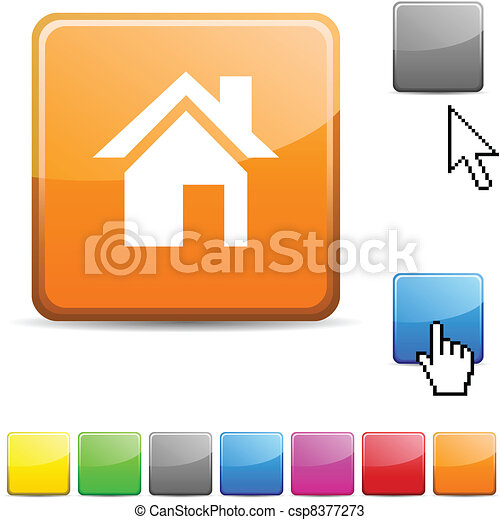 Home glossy button. - csp8377273