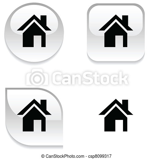 Home glossy button. - csp8099317