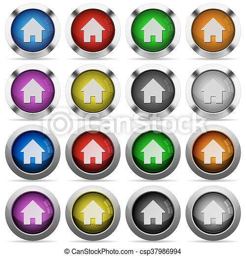 Home glossy button set - csp37986994