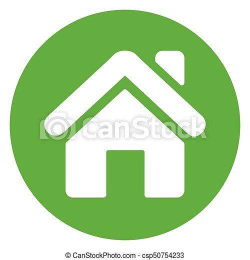 home green circle icon - csp50754233