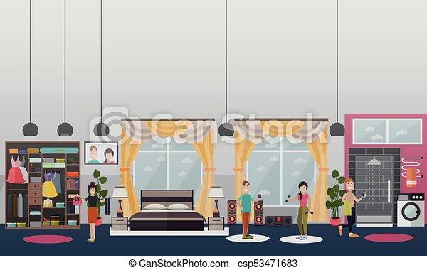 Fitness gym sports equipments interior room stock vector royalty