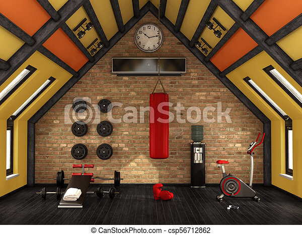 home gym in the mansard with training equipment  3d
