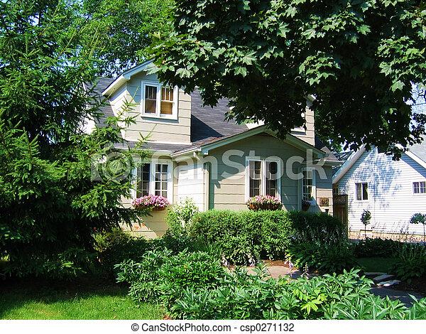 home, house, window, front, flower, garden - csp0271132