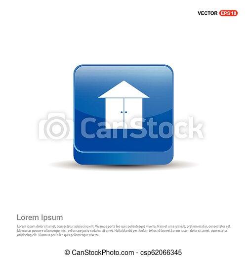 Home icon - 3d Blue Button - csp62066345