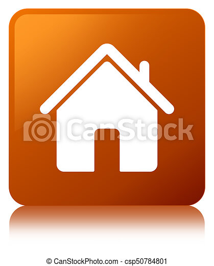 Home icon brown square button - csp50784801