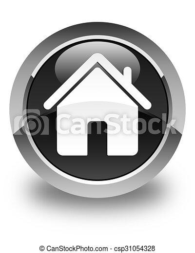 Home icon glossy black round button - csp31054328