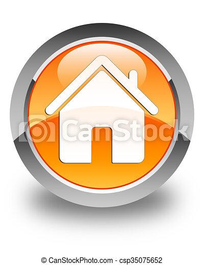 Home icon glossy orange round button - csp35075652