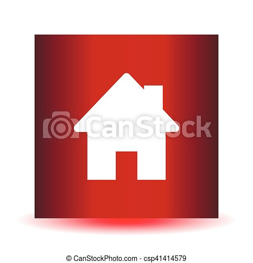 Home icon on a red background - csp41414579