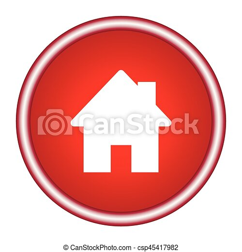 Home icon on a red background. Vector illustration. - csp45417982