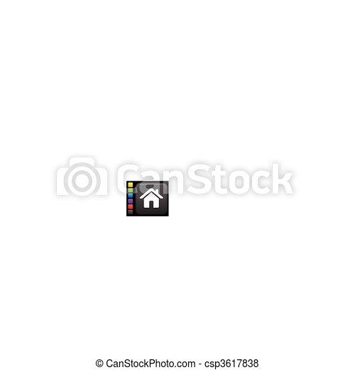 home icon on square internet button - csp3617838