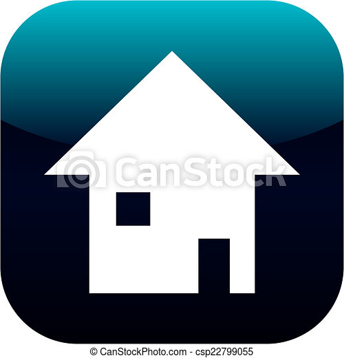 home icon on square internet button - csp22799055