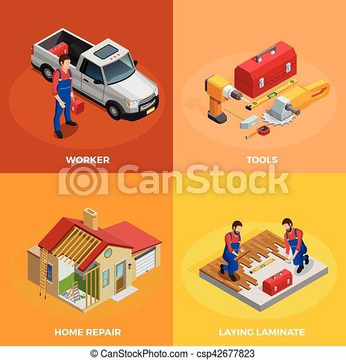 Home Improvement Isometric Template Home Improvement Isometric